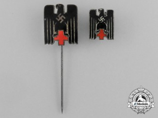 A Grouping of Two DRK (German Red Cross) Membership Stick Pins and Badges