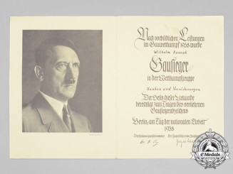 A National Vocational Competition Gau winner certificate to Wilhelm Kossak