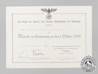A Sudetenland Medal award certificate to Schütze Friedrich Heinemann