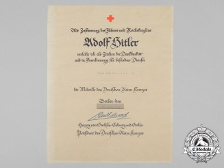 A German Red Cross Decoration Document to Veit Freber II.