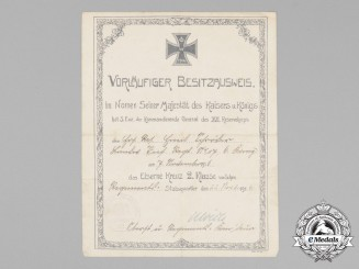 A 1916 Preliminary Certificate for the Iron Cross 2nd Class