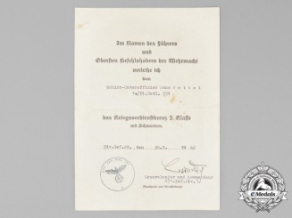 A War Merit Cross 2nd Class with Swords Award  Document Signed by Karl Burdach