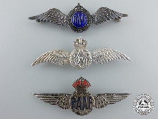 Three Second War Royal Australian Air Force (RAAF) Silver Wings