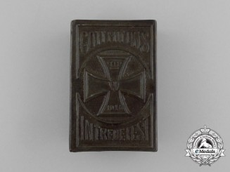 "A First War iron Cross 1914 ""Unity makes us Strong"" Matchbox Cover"