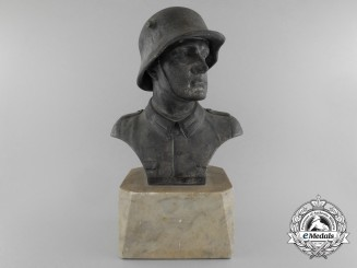 A German Army (Heer) Soldier Zinc Desk Bust