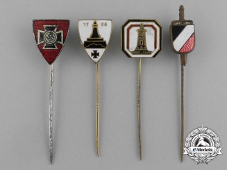 A Grouping of Four Second War German Veteran's Organization Stick Pins