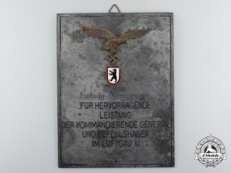 Germany, Luftwaffe. An Honour Plaque for Outstanding Achievement to Major Ludwig Niemeyer