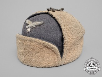"A 1942-Issue LuftwaffeNCO's Artificial Fur Winter Cap ""Ushanka"" by G.A. Hoffmann"