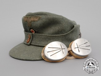 An Army (Heer) Mountain Troops Enlisted Man's Field Cap with Snow Goggles