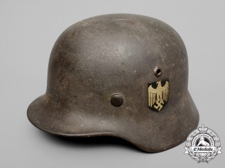 A Single Decal M35 Wehrmacht Helmet Named to Corporal Pfeiffer