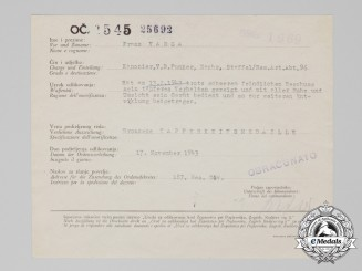 A 1943 Croatian Bravery Medal Award Document; In German, Italian, & Croatian