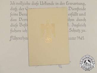 A Large Formal Promotion Document to Medical Colonel in the Luftwaffe Dr. Adolf Hepp