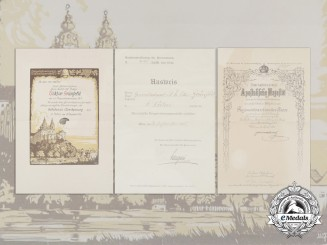 A Pre Second War Austrian Document Group to Senior Staff Doctor 1st Class