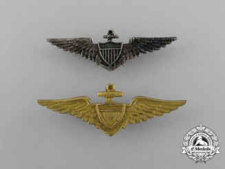Two American Naval Aviator Collar Badges