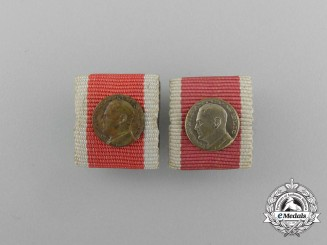 Two Second War Period Croatian Ribbon Bar Miniatures