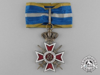 An Order of the Romanian Crown with Swords; Commander's Neck Badge