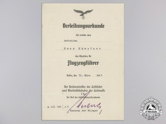 An Award Document for Luftwaffe Pilot's Badge