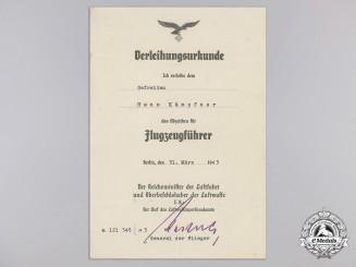 An Award Document for Luftwaffe Pilot's Badge