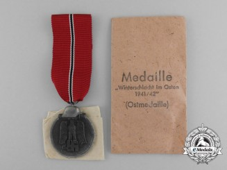 A Mint and Unissued Eastern Winter Campaign Medal by Deschler in its Packet of Issue