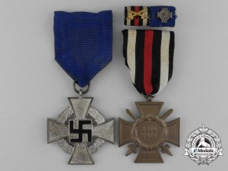 A First & Second War German Faithful Service Medal Ribbon Pair