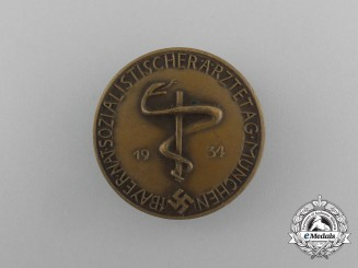 A 1934 1st Bavarian Day of National Socialist Doctors in Munich Badge