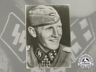 A Wartime Signed Photo of Oak Leaves & Swords Recipient SS Brigadeführer Sylvester Stadler