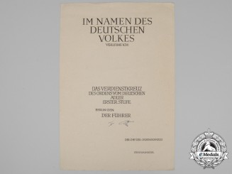 An Unissued & Rare Award Document for the 1st Class German Eagle Order