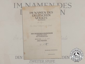 A 1939 German Eagle Order 2nd Class with Swords Award Document; Spanish Recipient