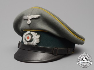 An Army (Heer) Signals Enlisted Man's/NCO's Visor Cap