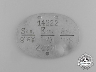 A Second War German Medical Reserve Kompanie 8  Identification Tag