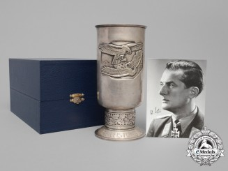 A Luftwaffe Honour Goblet to Knight's Cross Recipient Hauptmann Wilhelm Sell