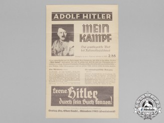 "A Large Wartime Advertisement Poster for AH's Book ""Mein Kampf"""