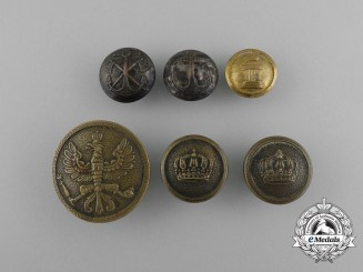 Six First War Period European Military Buttons