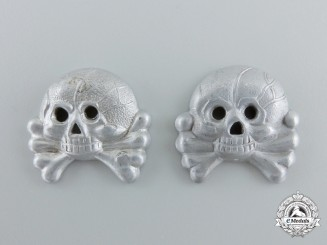 Two German Panzer Insignia Skulls