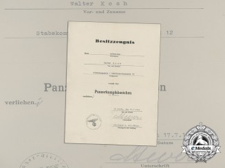 A Bronze Grade Tank Badge Award Document to Battle of Dunkirk Recipient of the 4th Panzer Division