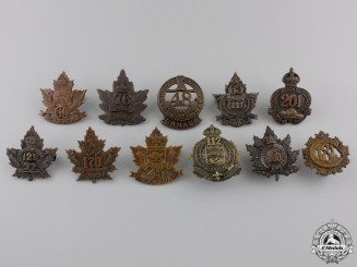 Eleven First War Canadian Infantry Battalion Collar Badges