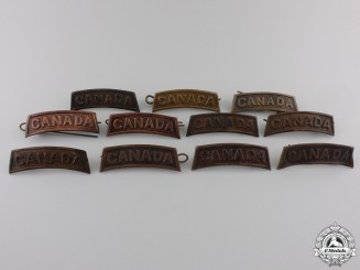 Eleven First War Canadian General Service Shoulder Titles