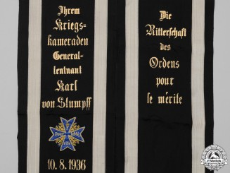 Germany, Imperial. The Pour-le-Merite Funeral Sashes of Generalleutnant Karl von Stumpff