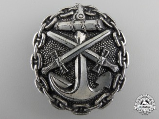 A First War Naval Wound Badge; Silver Grade