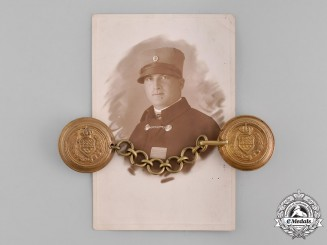 Yugoslavia, Kingdom. An Officer's Cape Clasp with Photo