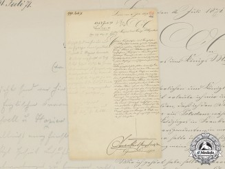 Germany, Imperial. A Friedrich Karl Prince of Prussia Signed Request for a Non-Combattant 1870 EK