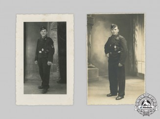 Germany, Heer. A Pair of Panzer Personnel Studio Portraits