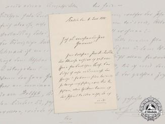 Germany, Imperial. A Signed Letter from Oberstleutnant (later Generalfeldmarschall) von Plessen, 1886