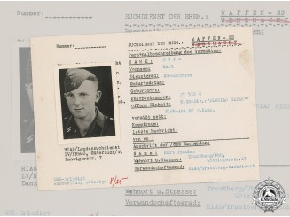 Germany, SS. A SS HIAG Tracing Service File for SS-Kanonier Karl Dorn