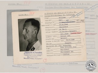 Germany, SS. A SS HIAG Tracing Service File for SS-Schütze Heinz Abels