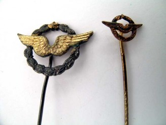 TWO MINIATURE PILOT'S BADGES