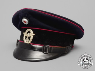 A German Fire Police Visor Cap; Wartime Re-Badged