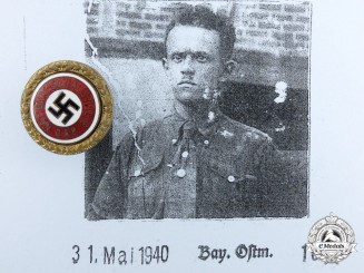 An NSDAP Golden Party Badge; Small Version to Arthur Backert
