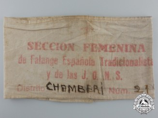 A Spanish Civil War Falange Women's Section Chanberi District Armband