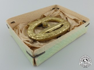 A Mint Kriegsmarine Submarine War Badge by Schwerin in Box